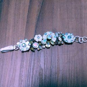 Cosmos white floral flower brulee brûlée bracelet